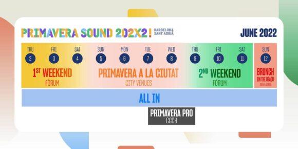 calendar primavera sound 2022